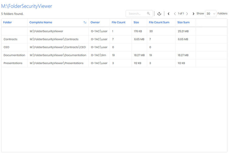The Folder Report shows the folder structure with file count and size.