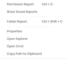 Use context menu to start a report or get direct access