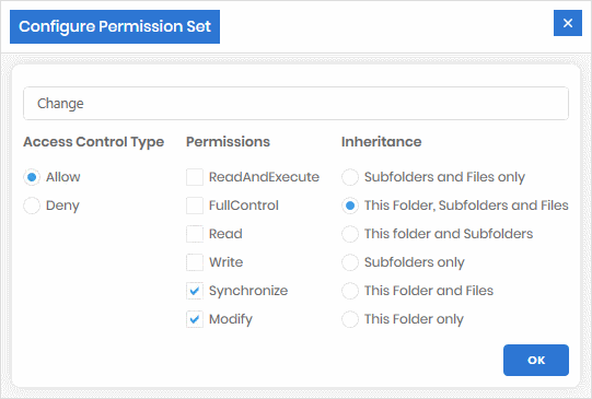 Give the name 'Change' to the NTFS permissions shown
